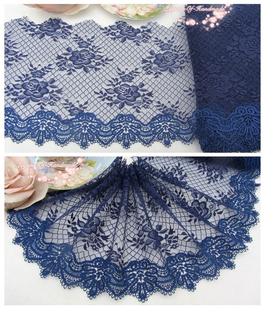 7 1y Embroidered Floral Tulle Lace Trim Navy Blue Charming Choice Elegant Sale Janeslaceboutique Lace Trim Tulle Lace Sewing Trim