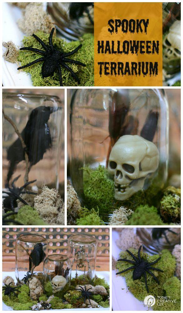 Halloween Spirit {Halloween Terrarium Terraria, Jar and Decorating