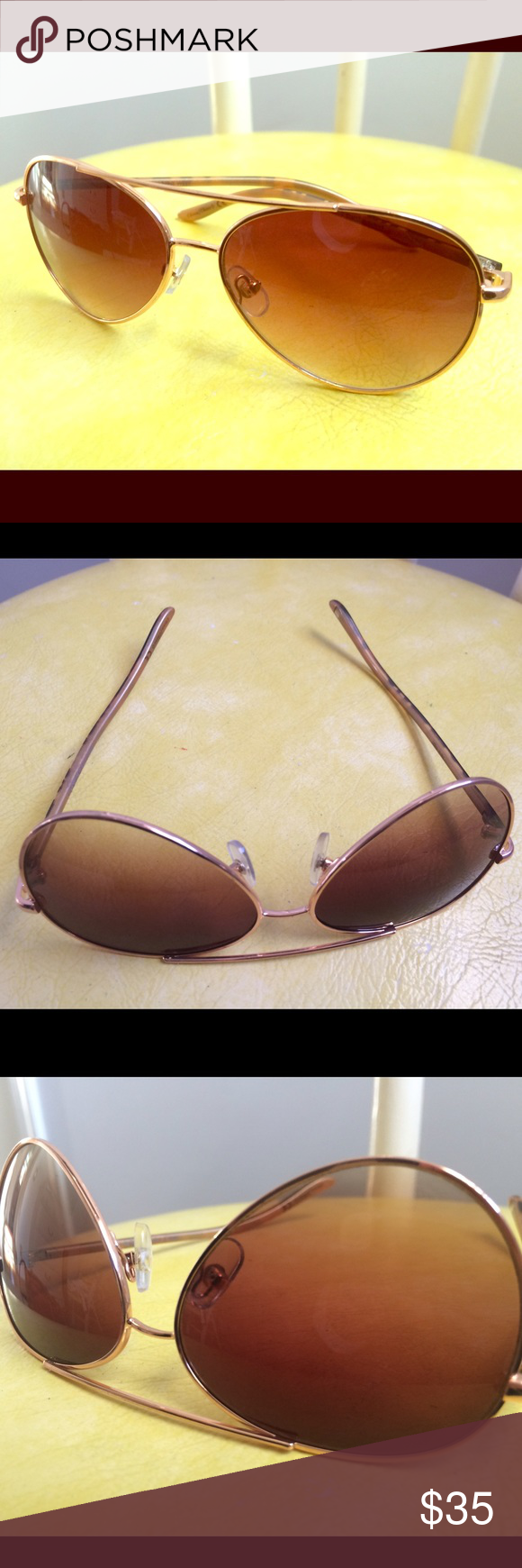 Brown/Tortoise Aviator Sunglasses - brand new! Flatters every face, perfect aviators. Brand new, from Macy's. Brand not labeled on sunglasses. I think Fossil, but not sure. Brown with tortoise coloring on sides. Sexy and chic sunglasses. Fast shipment 😎 Accessories Sunglasses