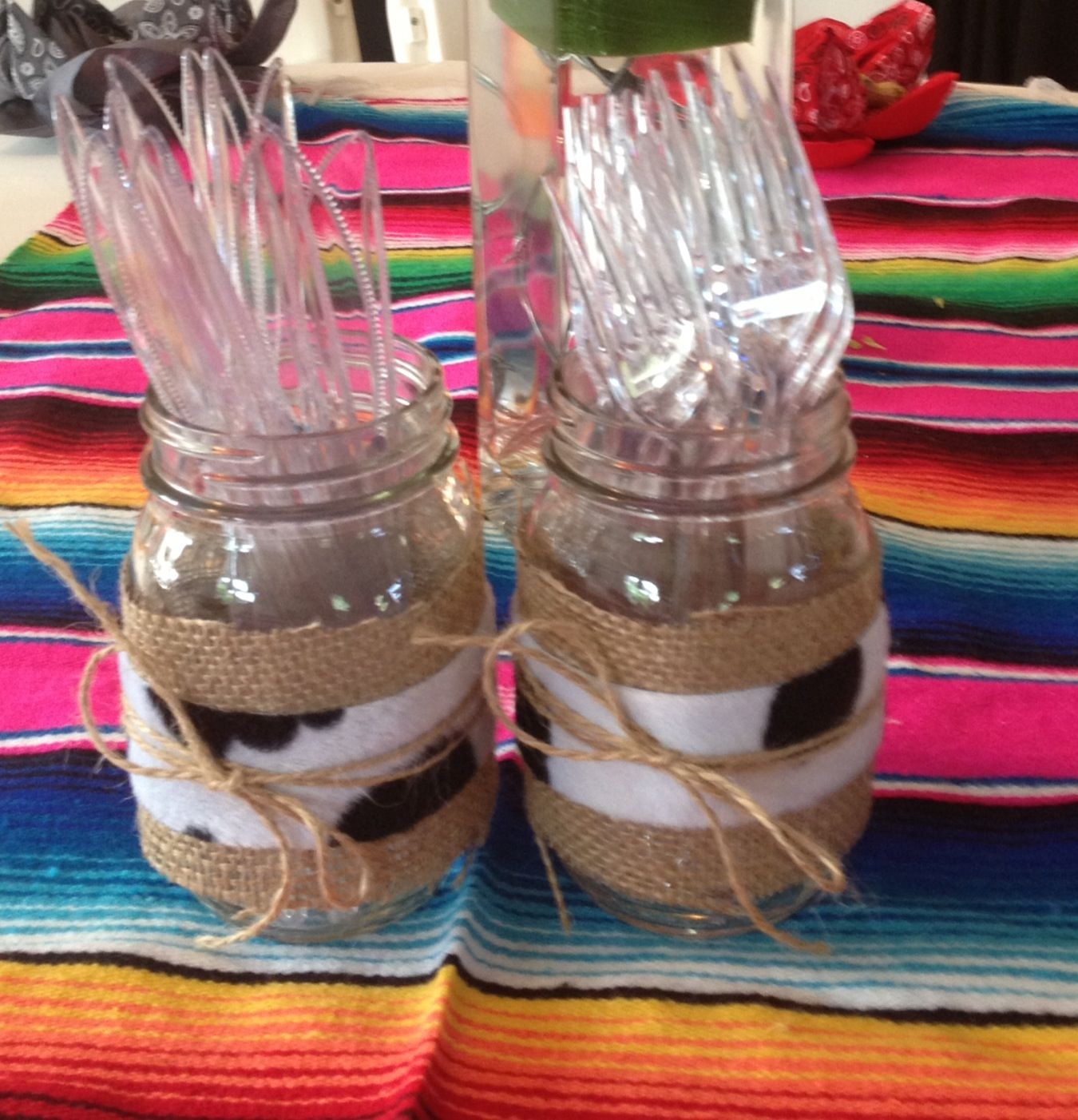 Western, Cowboy, Mexican, Mason Jars Great For hold forks, spoons, knife, candles, napkins, flowers, candies, etc.... $6.00  via Etsy shop/hautecrafts4u or hautecrafts4u@gmail.com