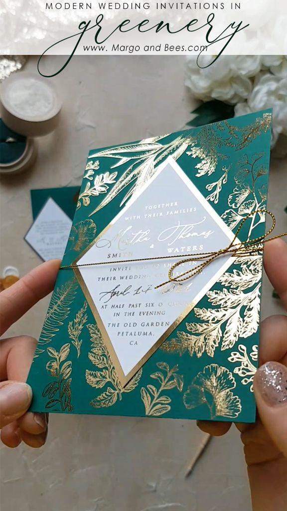 Invitación de boda personalizada papelería de oro brillante 2 / romb / z