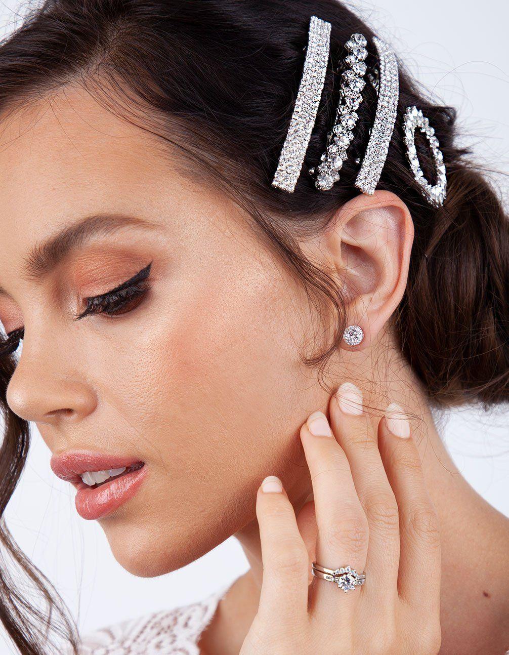 rhodium double diamante barrette in 2019   shop the look