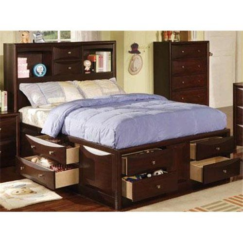 Espresso Bookcase Storage Full Size Bed Kids Furniture Furniture