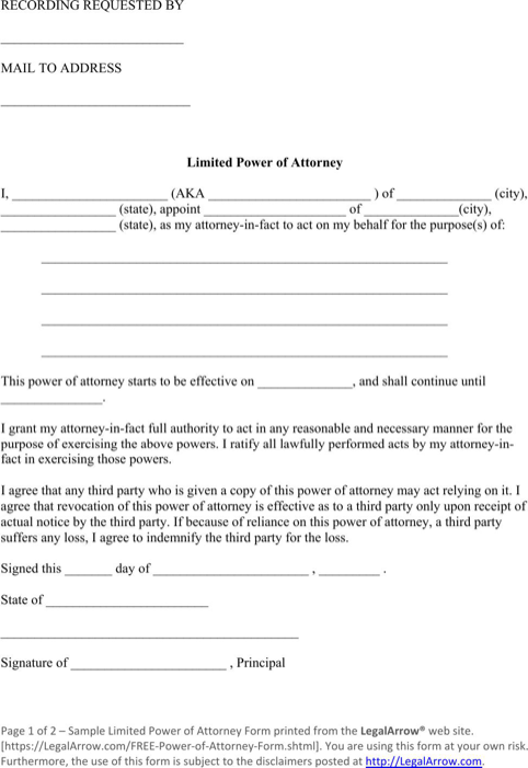 Limited Power Of Attorney Form  TemplatesForms