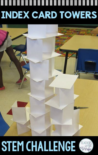 STEM Challenge Index Card Tower #stemactivitieselementary