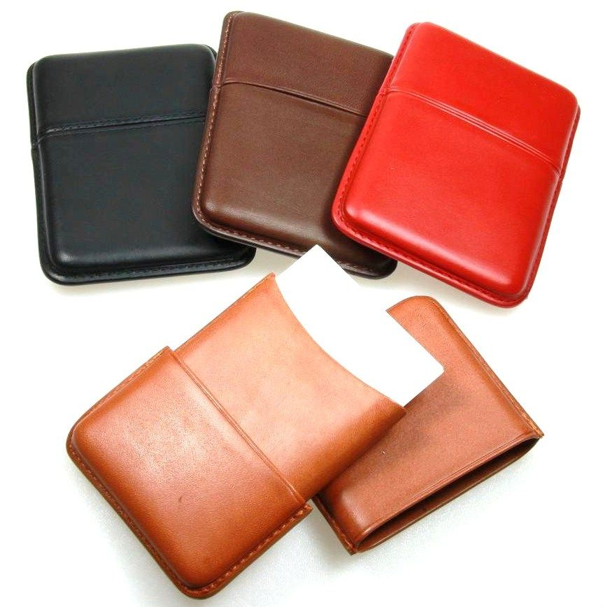 Smooth cow leather Sliding Business cards holder by Lucrin | Leather ...