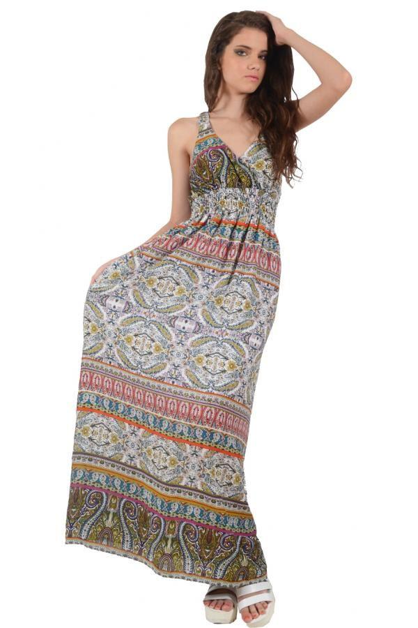 Φόρεμα εμπριμέ μακρύ σε άνετη γραμμή με σούρα κάτω από το στήθος και μοτίφ  δαντέλα στην 2979a0c2d9a