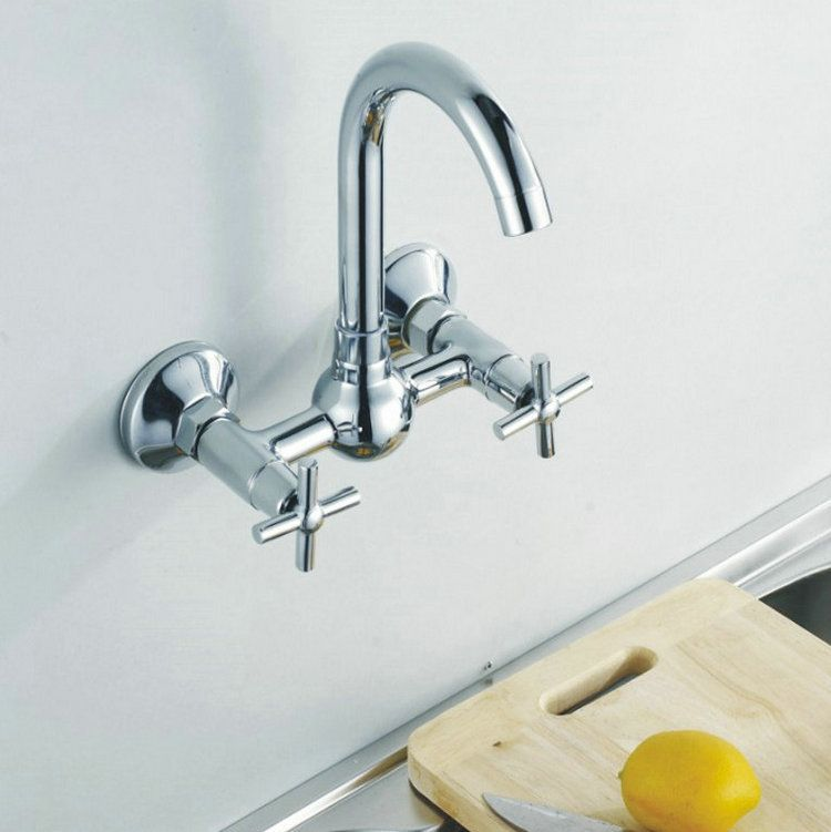 Wall Mounted Kitchen Tap Double Handle Hot Cold Mixer Tap Basin Sink ...