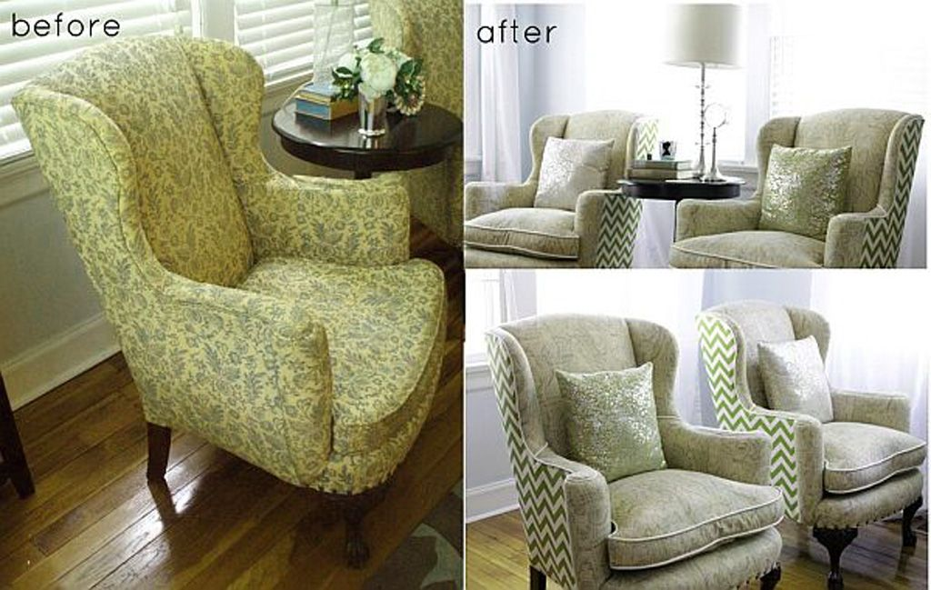Reupholstered Armchair With Contrast Back