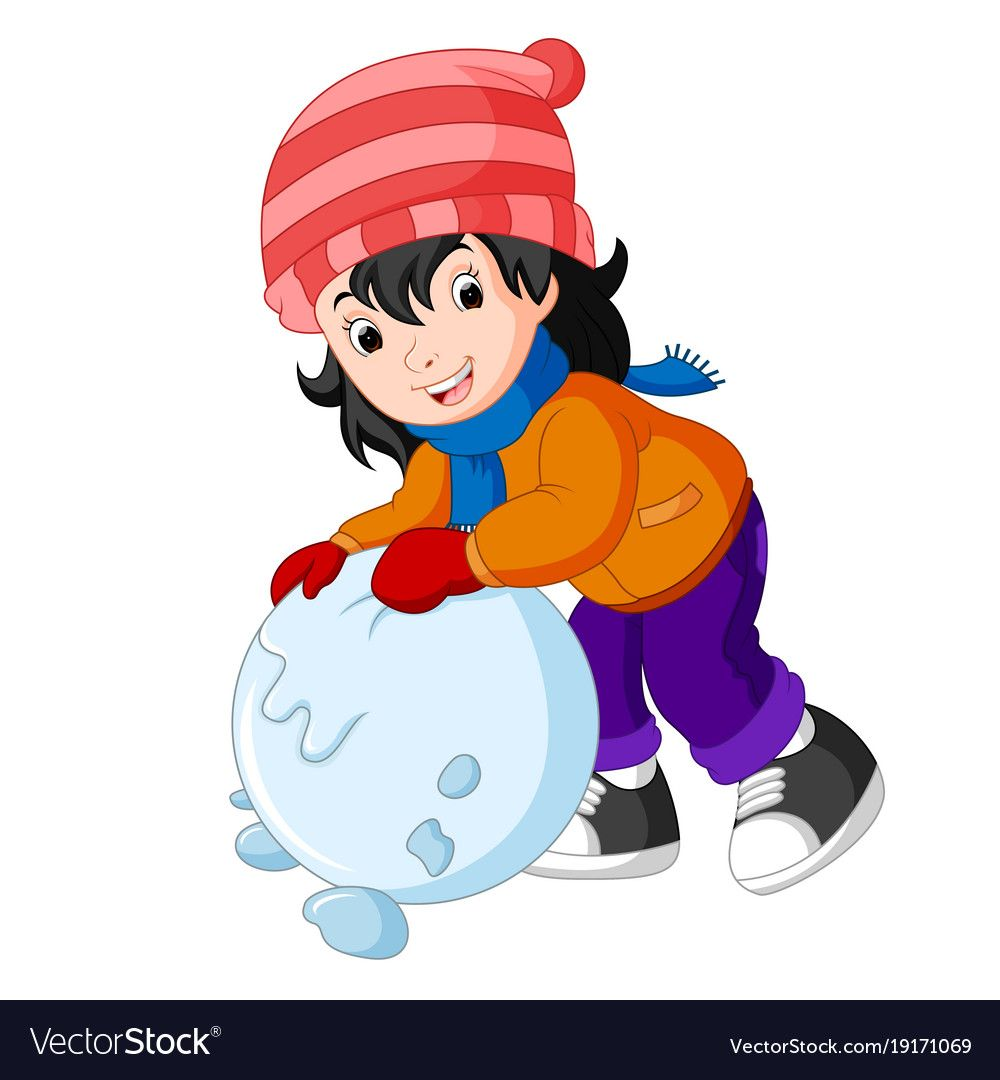 Cartoon kids playing with snow vector image on | Cartoon ...