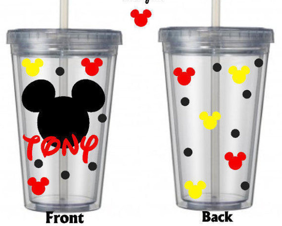 Perfect for your next Disney trip or just to remind you of the most magical place on Earth!!!!  This listing is for one tumbler personalized. In notes to seller please list: 1. Name 2. color vinyl for name 3. 1 other color for small Mickey heads (I will use color for name also) *polka dots are in black unless otherwise requested *Ribbon will come tied around straw from my ribbon stock, (no guarantee of color or requests)  * BPA – FREE * Insulated double wall * Straw included * Fits any…