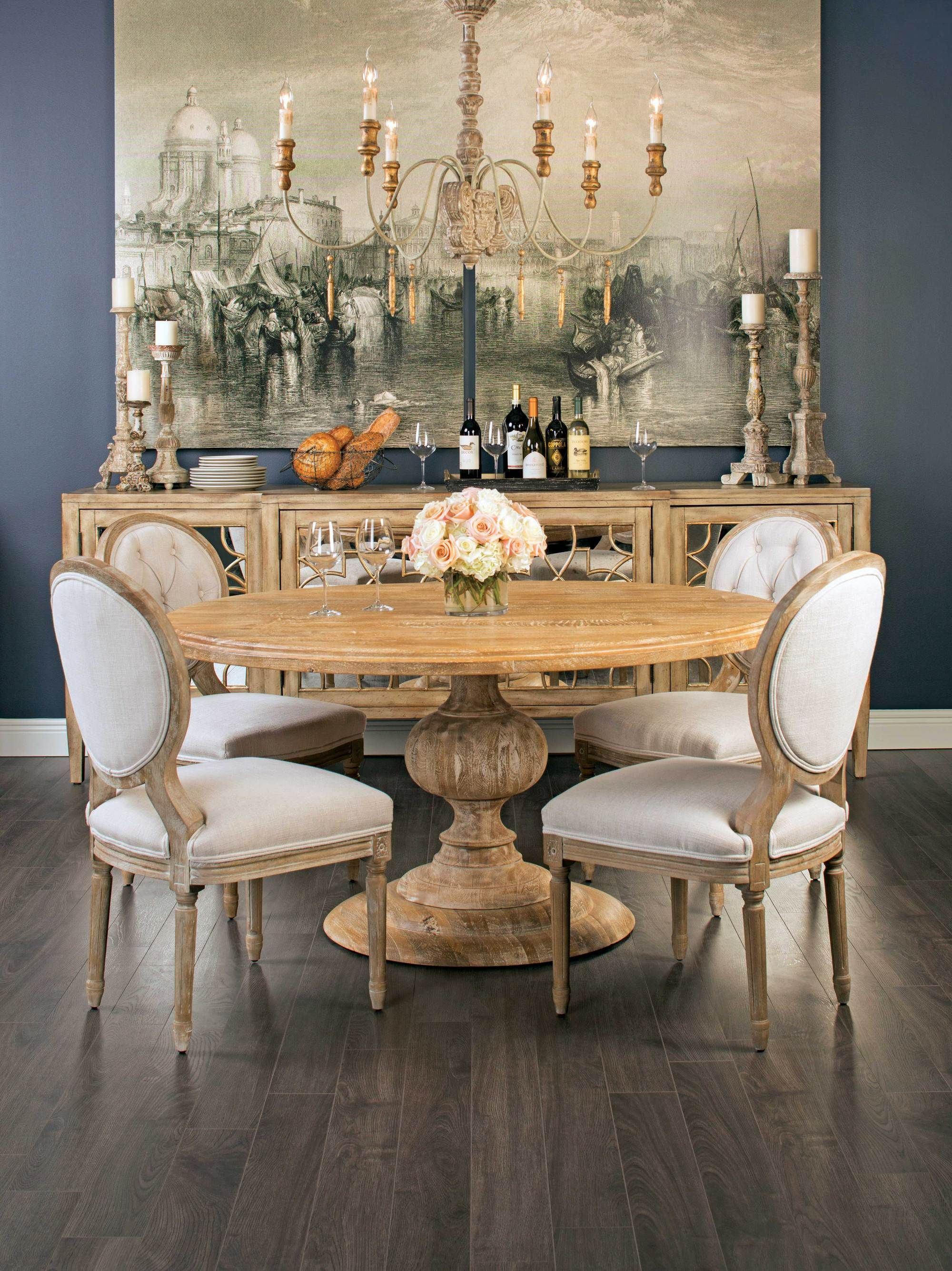 Magnolia Round Dining Table French Country Dining Room Country Dining Rooms Dining Room Table Decor