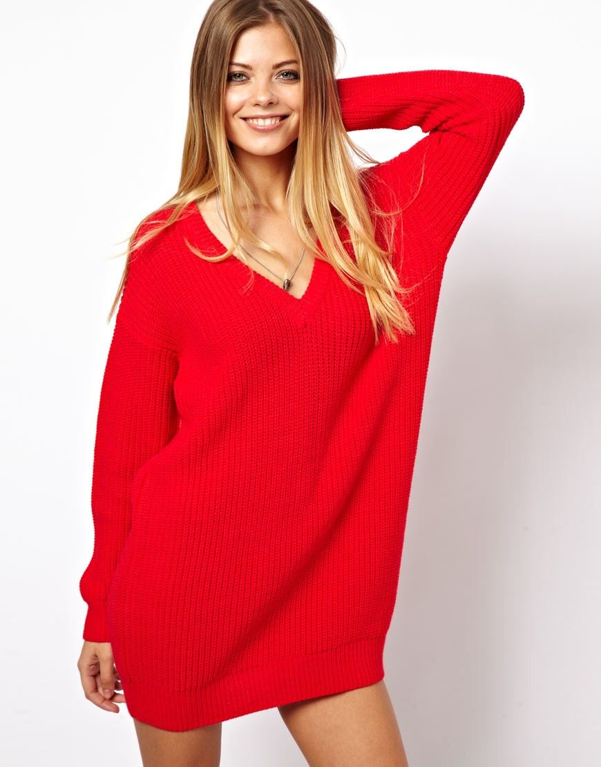 Asos Deep V Jumper Dress in Red | Lyst | Fashion | Pinterest ...