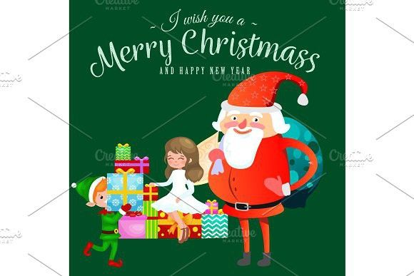 Santa claus in red hat with beard sits on chair with hare in hand santa claus in red hat with beard sits on chair with hare in hand which makes wish elf and magic fairy with golden wings helps and prepares gifts m4hsunfo