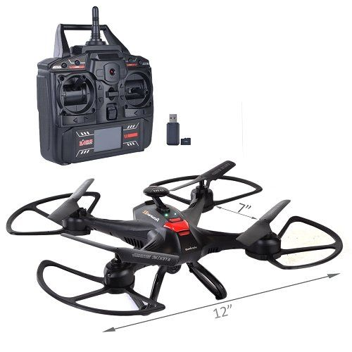 7 Quadcopter Drone 6 Axis Gyro wHD Camera LED Lights  Flip 4Ch 24GHzBlack >>> You can get more details by clicking on the image.