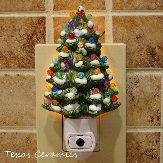 ceramic christmas tree with snow night light automatic on and off switch color lights ready to use - Christmas Night Light
