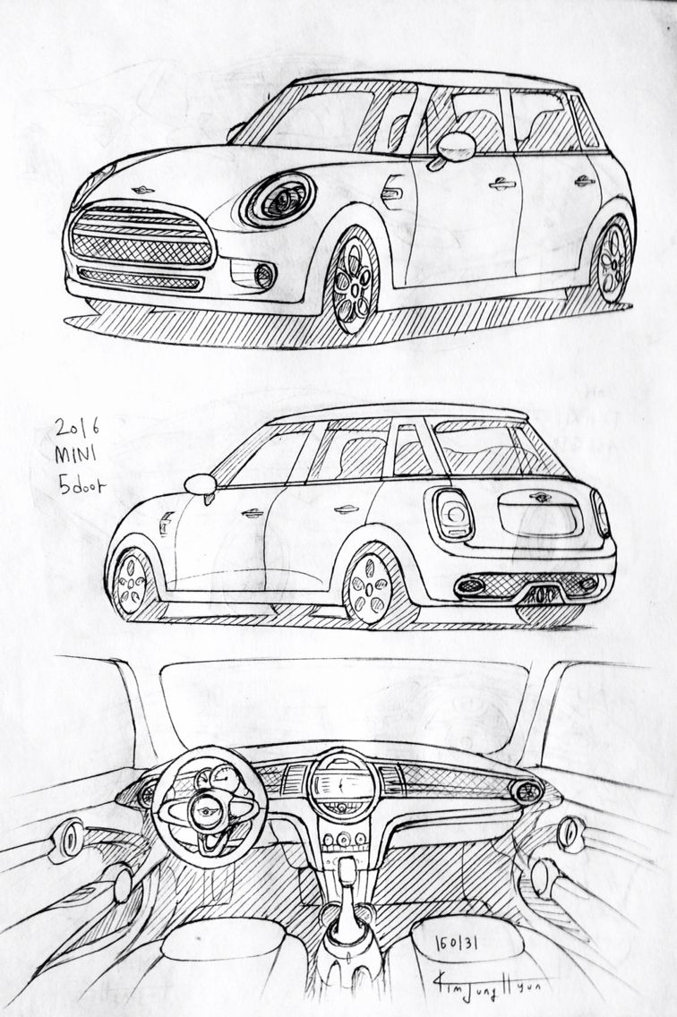 Car drawing 160131. 2016 MINI 5-door. Prisma on paper. Kim.J.H ...