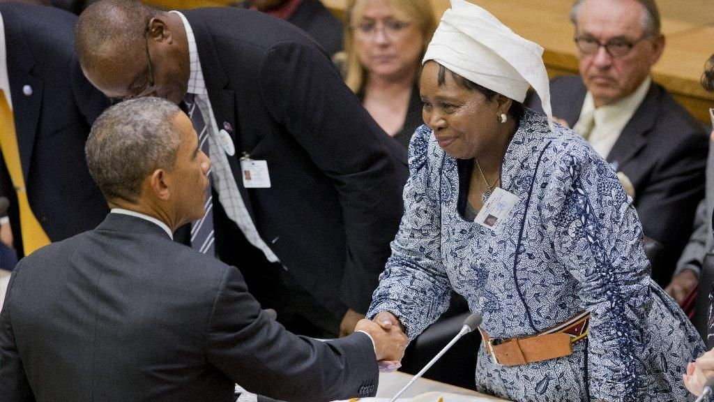 President Obama with African Union leader Nkosazana