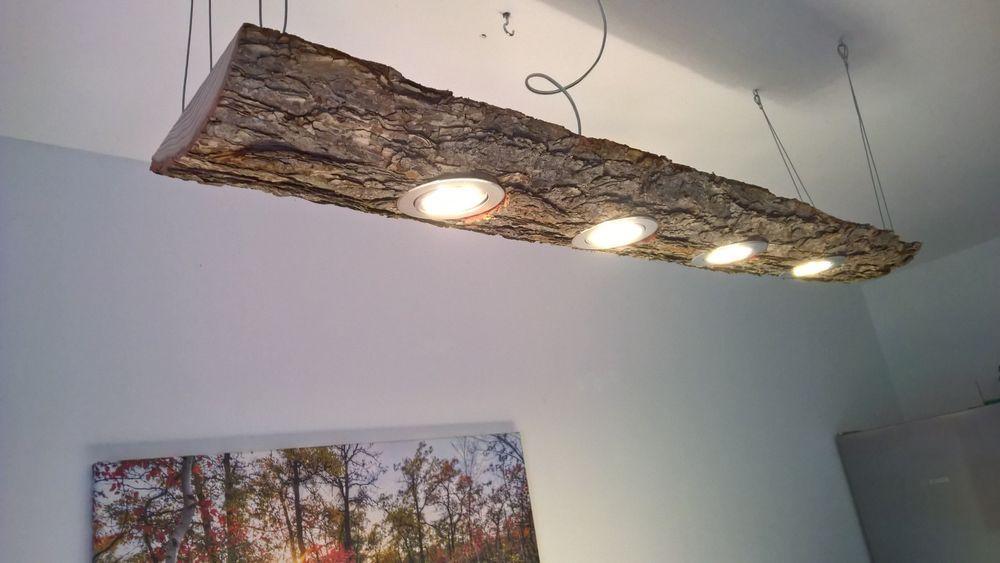Led Decken Holz Lampe Rustikal 120cm 4x 7w Massivholz Limitiertes