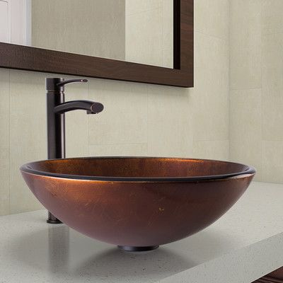 VIGO Glass Circular Vessel Bathroom Sink with Faucet Drain Finish