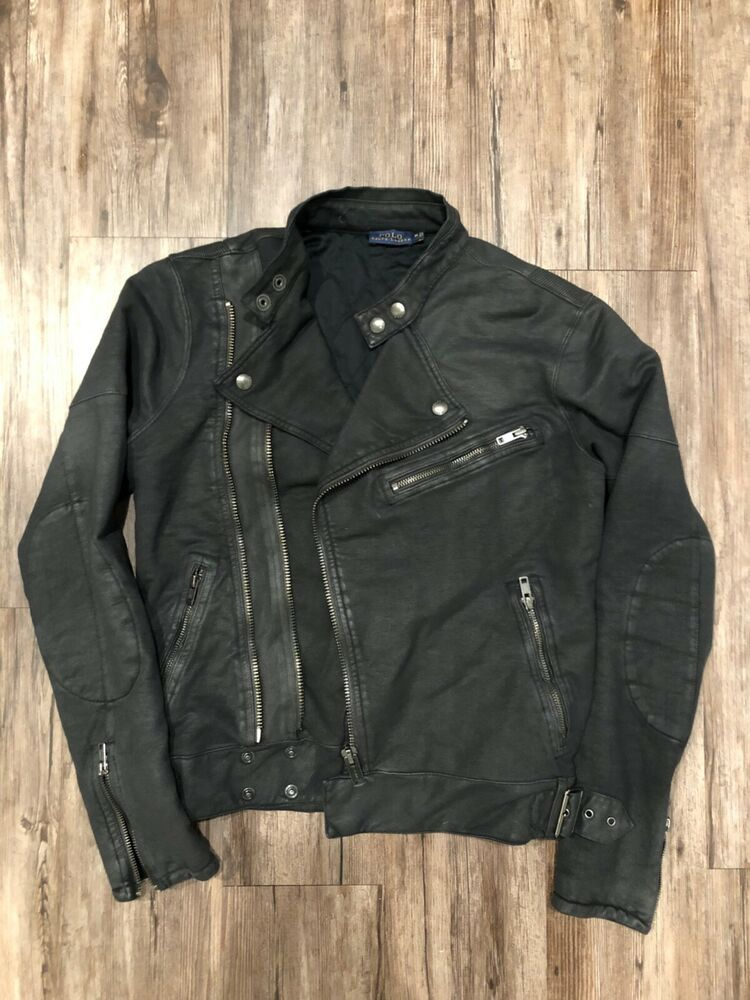 Polo Ralph Lauren Coated Black Denim Women's Moto Jacket