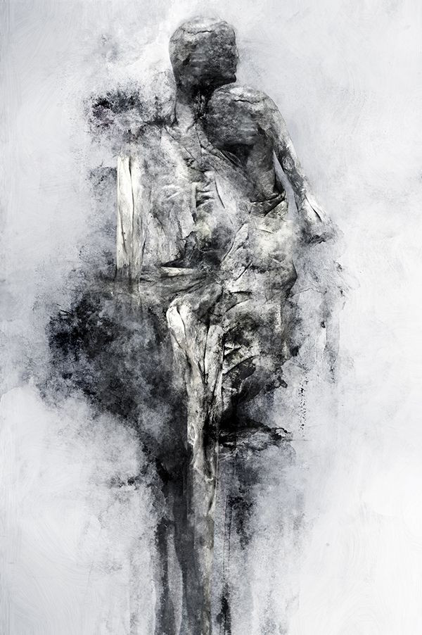 Artist merges multiple painting techniques with digital for Black and white painting techniques