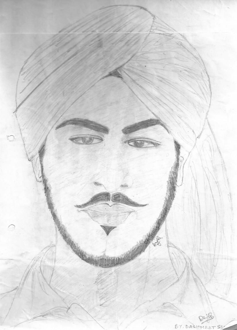 Martyr bhagat singh on a4 sheet sketching by dashmeet singh in pencil on paper at touchtalent 20517