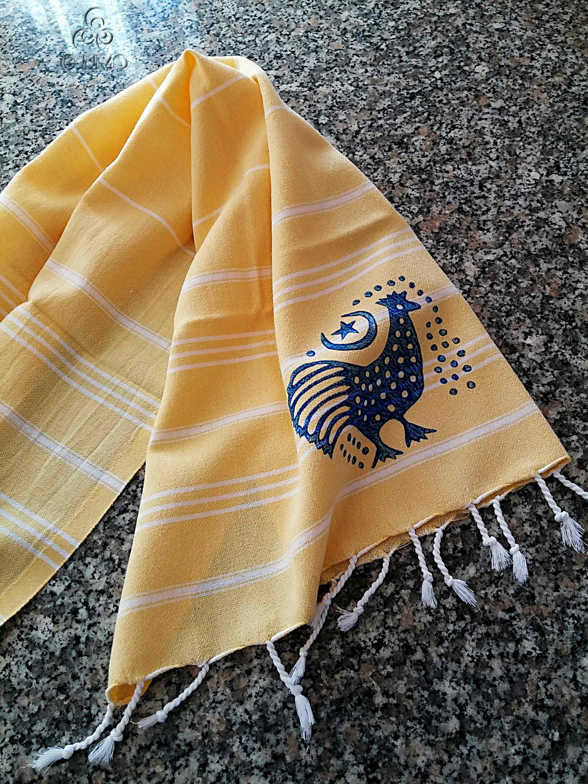 50x80cm Hand Block Printed Blue On Yellow Kitchen Towel Peshtemal