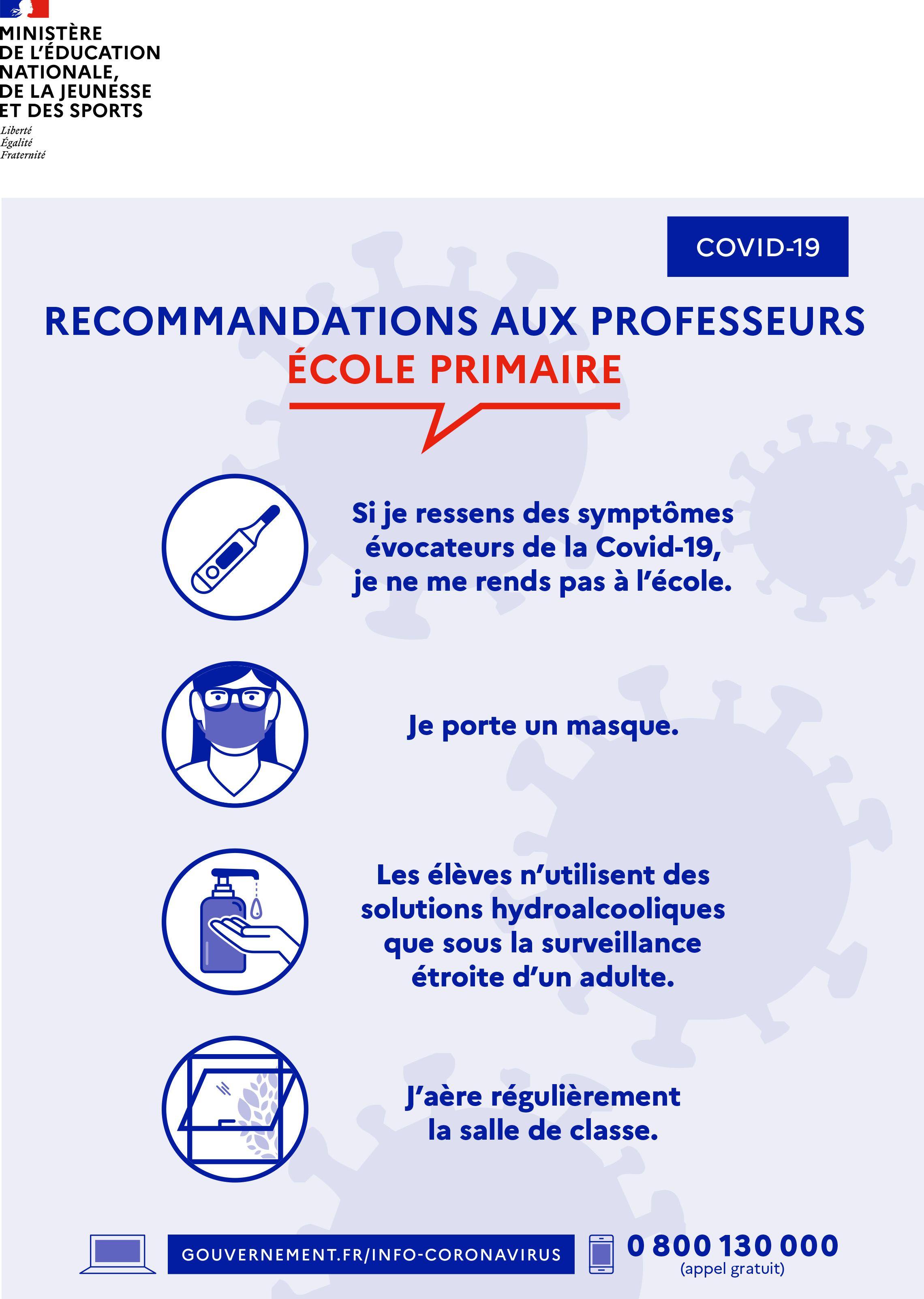 Rentree 2020 Recommandations Aux Professeurs Ecole Primaire Ecole Primaire Ecole Scolaire