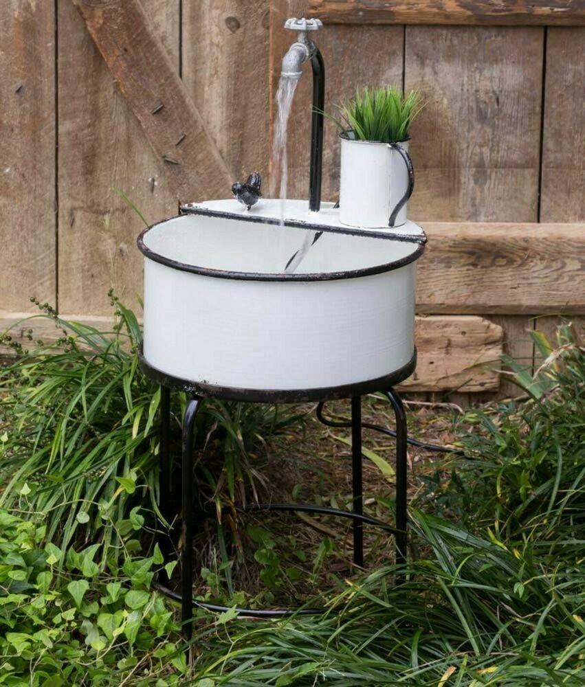 Details About Unique Outdoor Vintage Garden Sink Water Fountain With Pump White Metal Decor In 2020 With Images Garden Sink Outdoor Garden Sink Vintage Garden Decor