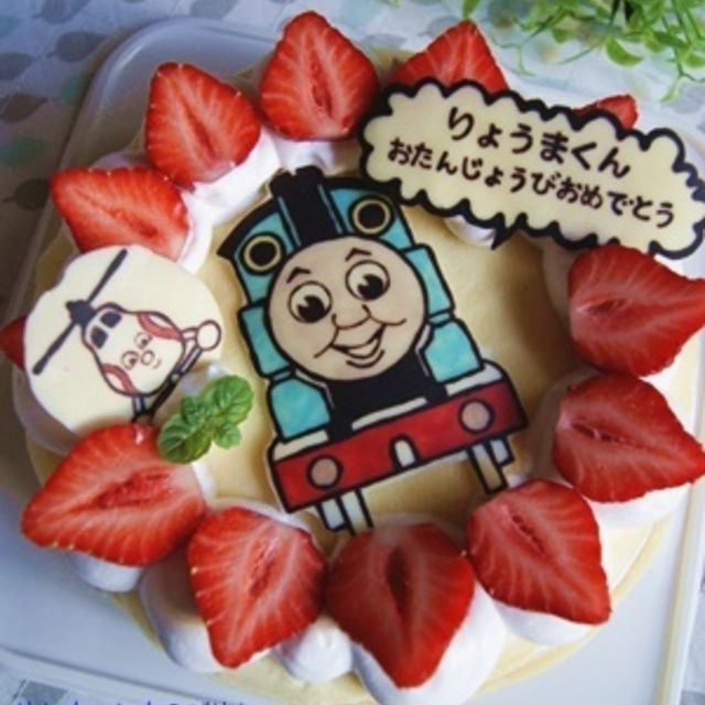 「【キャラケーキ】アレルギー対応*機関車トーマスのハピバケーキ by Hannaさん」 いつもオーダーしてくれているお友達からまたまたオーダーいただきまして作らせてもらった機関車トーマスのキャラケーキ。私もなかなか気に入っております♪土台のケーキはミルクレープ。卵・乳アレルギーを持って...