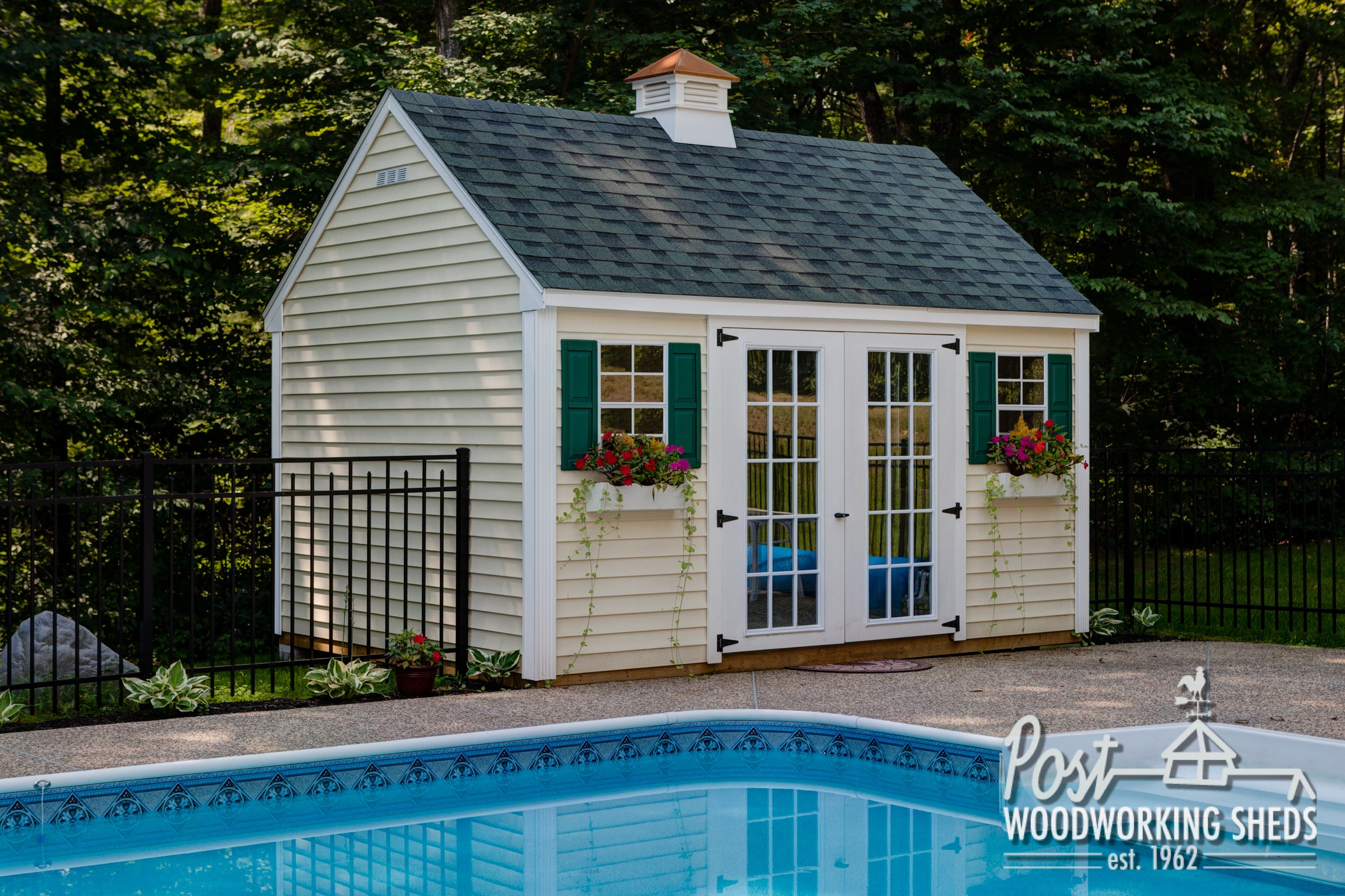 Lexington pool shed with cupola post woodworking sheds for Garden pool sheds