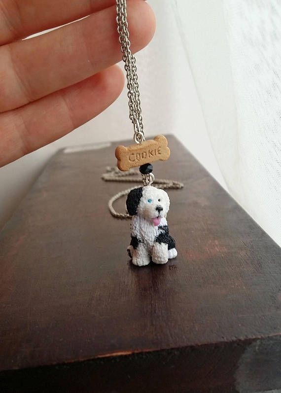 Old English Charm: Old English Sheepdog Puppy Charm Necklace Handmade From