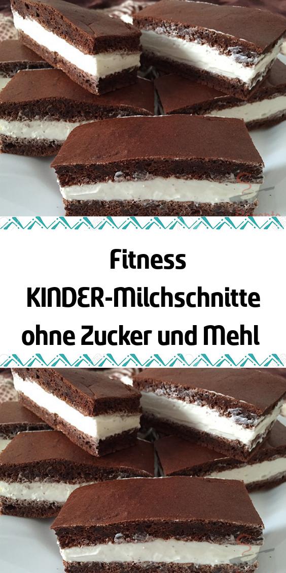 Fitness KINDER-Milchschnitte ohne Zucker und Mehl   - Kuchen - #Fitness #KINDERMilchschnitte #Kuchen...