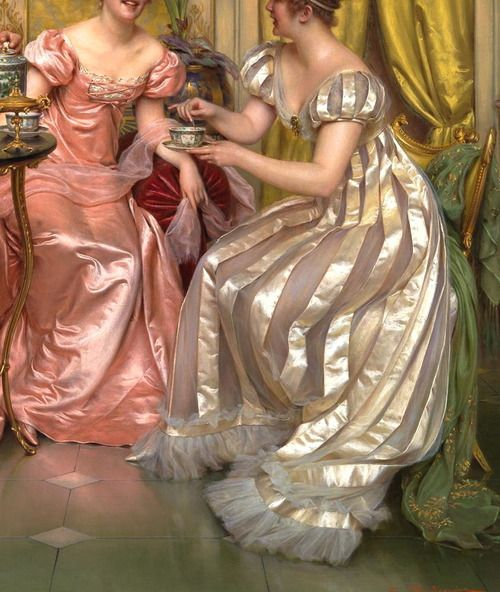 """""""Afternoon Tea for Three"""" (also known as """"A Stirring Conversation"""") (detail) by Charles Soulacroix (1825-1879)."""