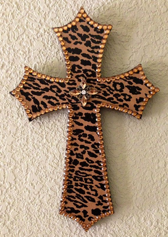 Leopard Print Wooden Cross by SouthernCharmMarket on Etsy, $20.00