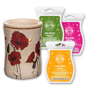 Light Up Her Day Scentsy Sale!!  Www.4Jennifer.Scentsy.us  SO, SO BOHO BUNDLE Give your favorite flower child this exquisitely patterned warmer and fresh, fruity scents!This limited-time offering contains the following:  1 Field of Poppies Warmer 1 Lush Gardenia Bar 1 Peony Petals Bar 1 Sunburst Blooms Bar