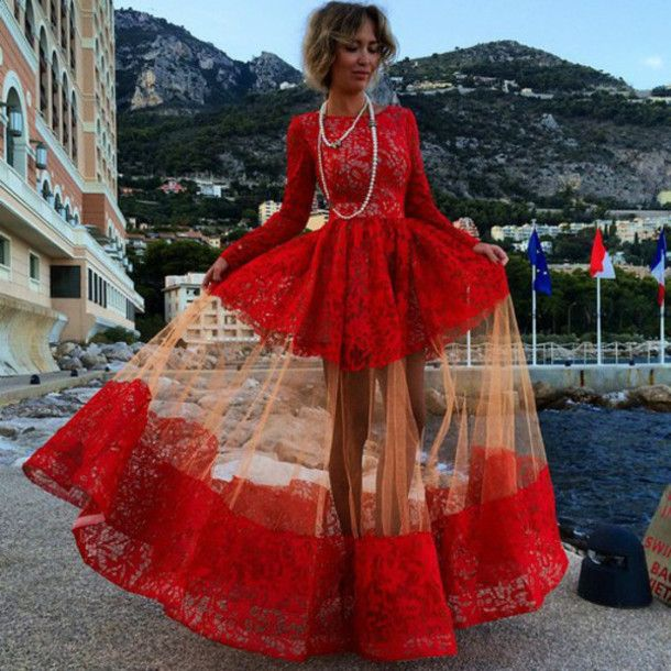 red dress prom dress maxi dress gown lace dress full lace geogrous ...
