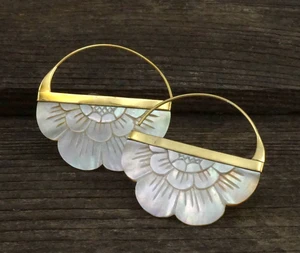 Boho Flower Hoop Earrings in Mother of Pearl - Brass Large - TheBlissfulCo
