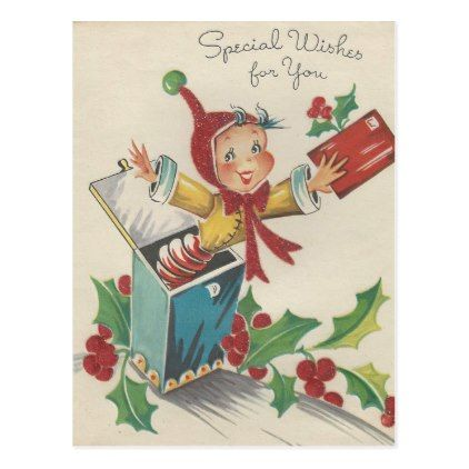 Vintage Christmas Elf In A Box Holiday Postcard Zazzle Com Boxed Holiday Cards Christmas Elf Vintage Christmas