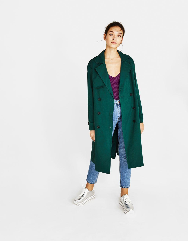 cd5e5b6611 Trench coat with belt Bershka  trench  green  fashion  trendy  bershka   girl  outfit