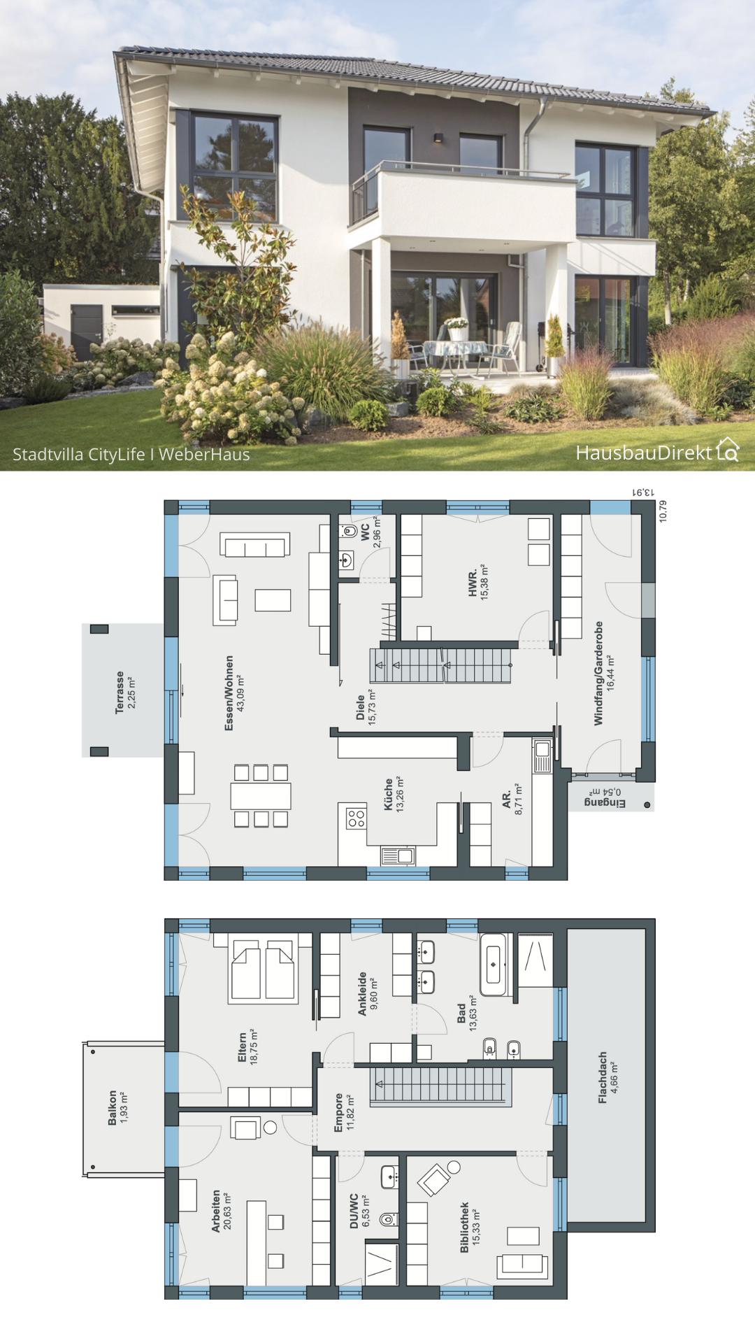 Moderne Stadtvilla mit Walmdach Putz Fassade & Balkon bauen Haus Grundriss mit gerade Treppe