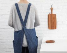 Free Shipping to USA and Canada! Linen Square Criss-Cross Apron - Denim