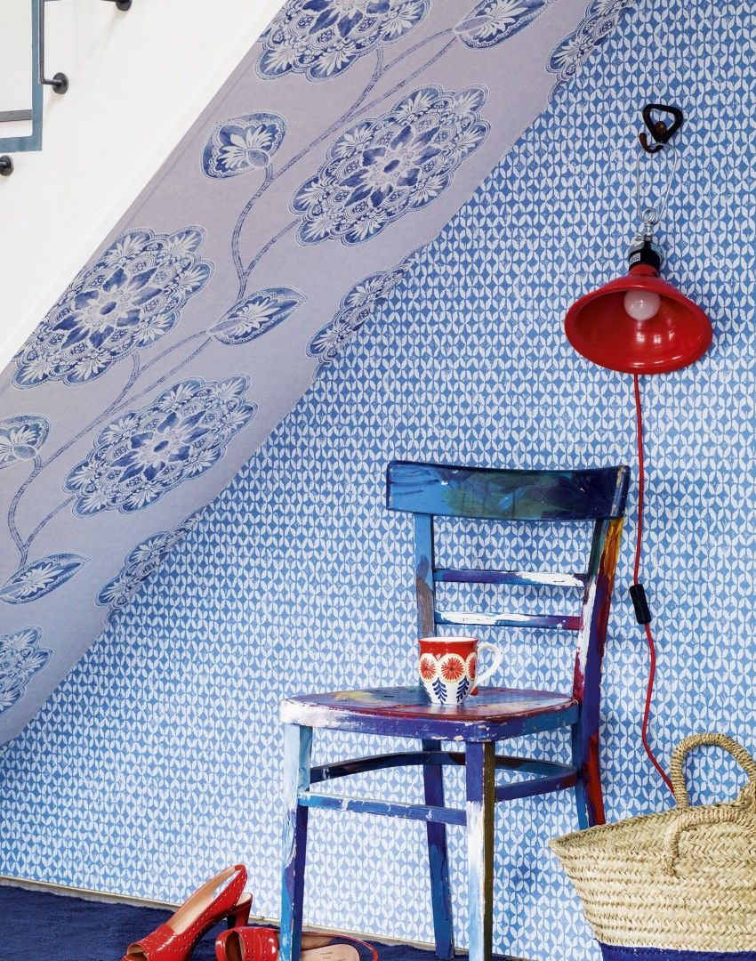 Modern Blue Hallway With Patterned Wallpaper Pattonmelo