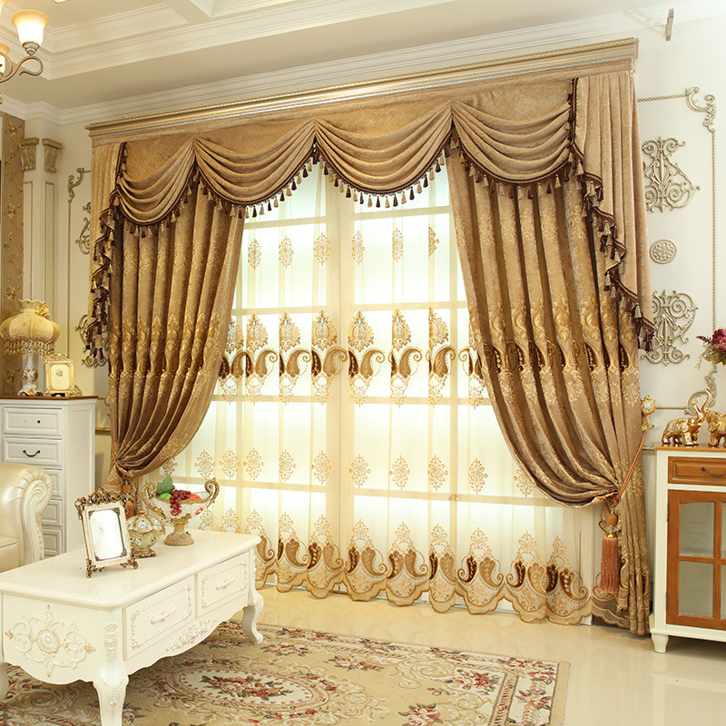 2 Color Elegant Embroidered European Style Curtain For Living Room