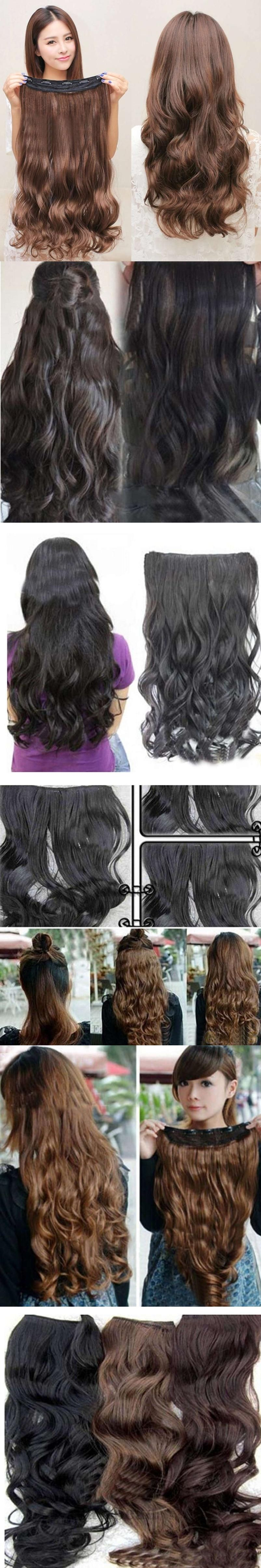 Head Clip Curly Wavy Women Synthetic Hair Extension Braider Dropship