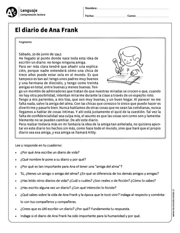 El Diario De Ana Frank Comprensión Lectora Lectura De Comprensión Comprensión