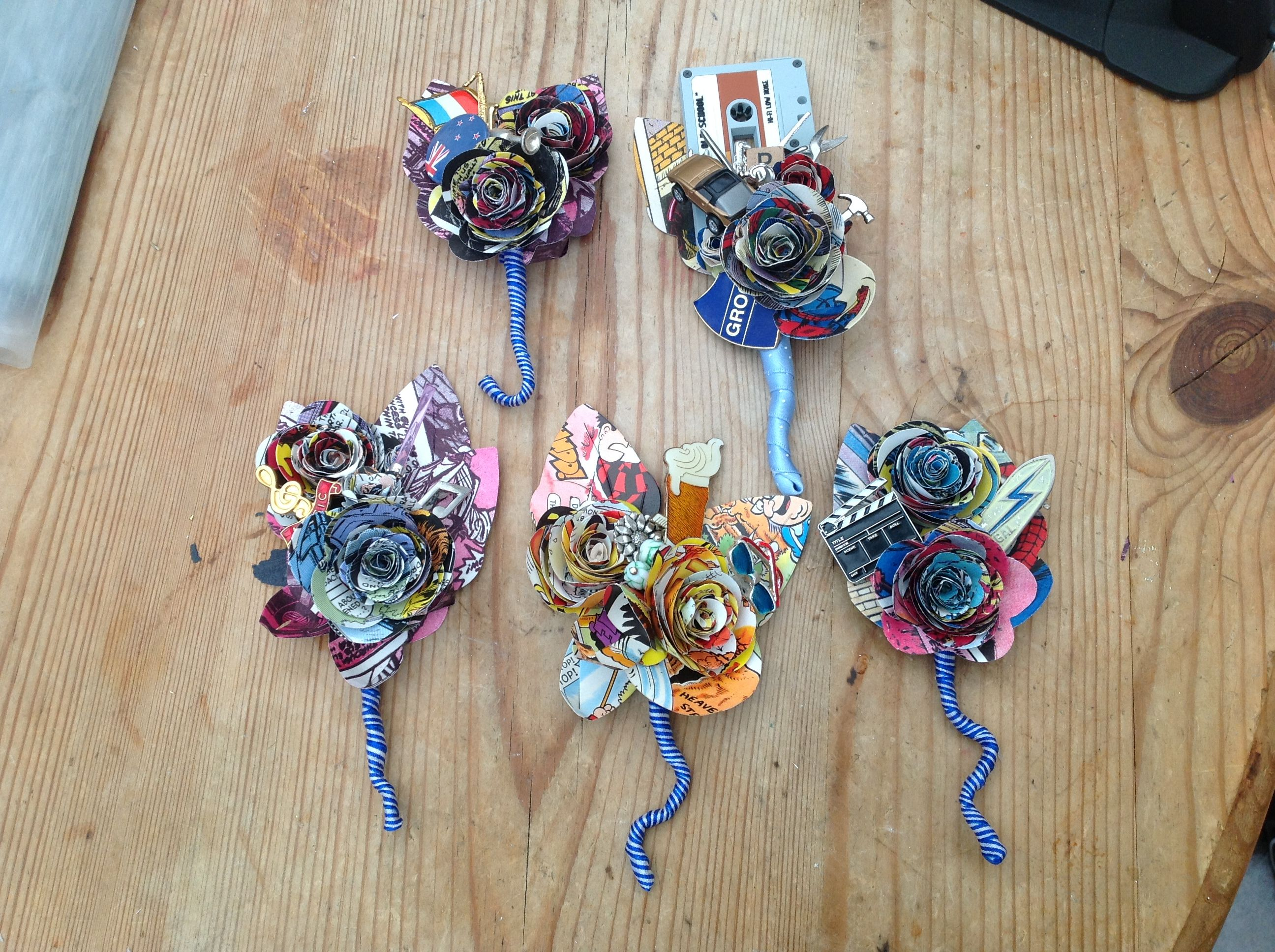 How To Make Wedding Buttonholes: Comic Paper Flower Button Holes