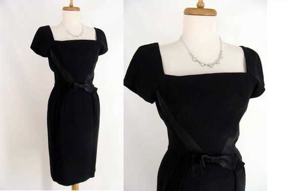 79.99 FREE US SHIPPING! Black Vintage Dress Black Wiggle Dress 60s Sexy  Black Curvy Dress Hourglass Bombshell Dress rockabilly pinup Mad Men LBD  Costume XS ... 525ca9bc2c8e