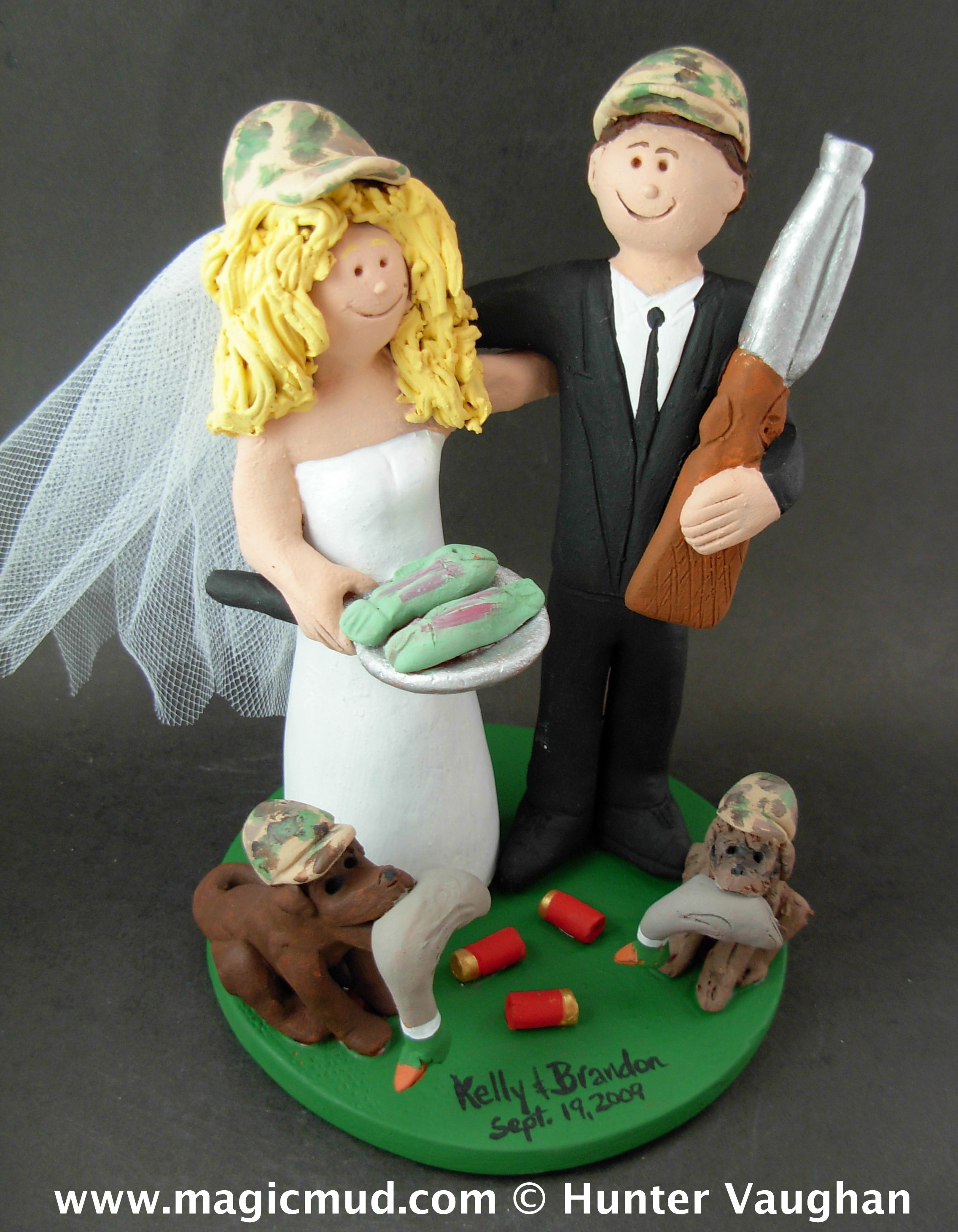 Duck hunting dogs wedding cake topper